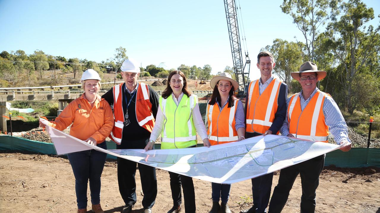 Transport Minister Mark Bailey, Rockhampton MP Barry O'Rourke, Keppel MP Brittany Lauga and Main Roads contractors visit work in progress at Northern Highway Access Upgrade which will link onto the Rockhampton Ring Road.