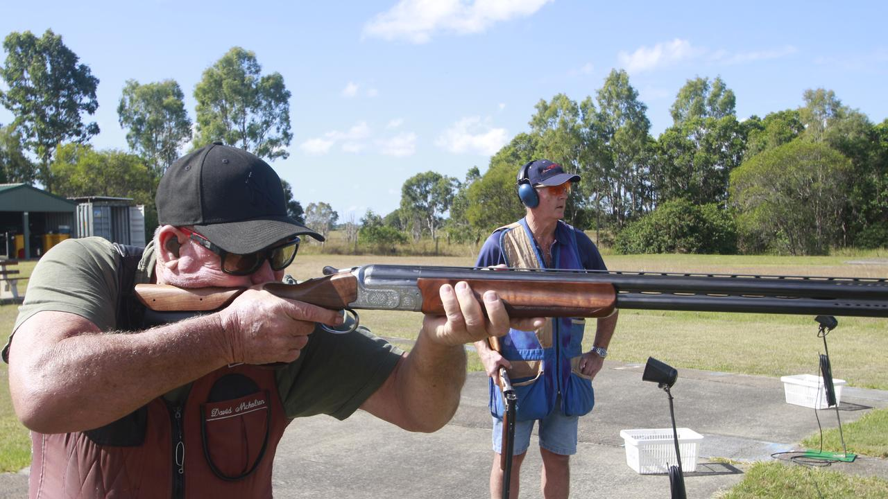 Maryborough Clay Target Club members David Nicholson and Malcolm Zipf were getting in some practice shooting at the range. Picture: Glen Porteous