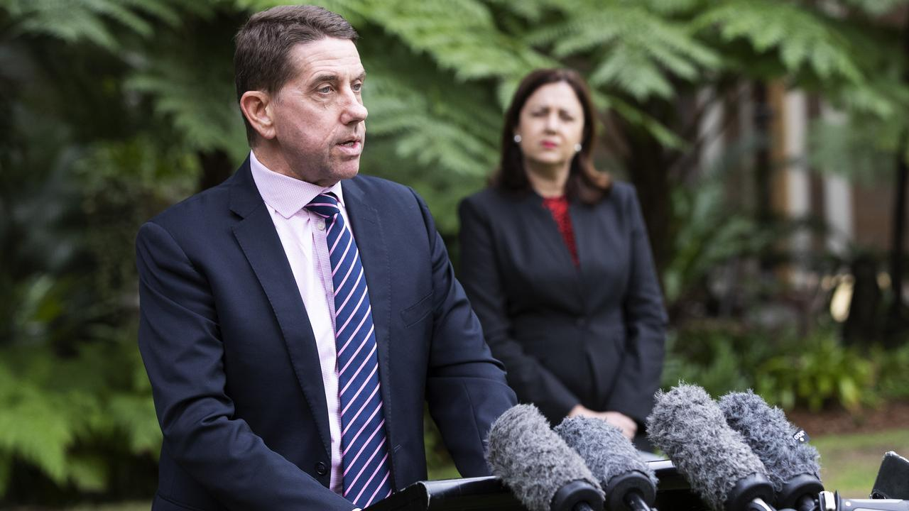 Queensland Treasurer Cameron Dick, with Premier Annastacia Palaszczuk, address media at Queensland parliament on Sunday. He confirmed there would be full financial documents available to the public before the election. Picture: Attila Csaszar.