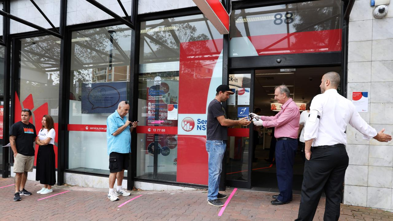 Bondi Junction Service NSW offering hand wash to customers upon entering. Picture: Jane Dempster/The Australian