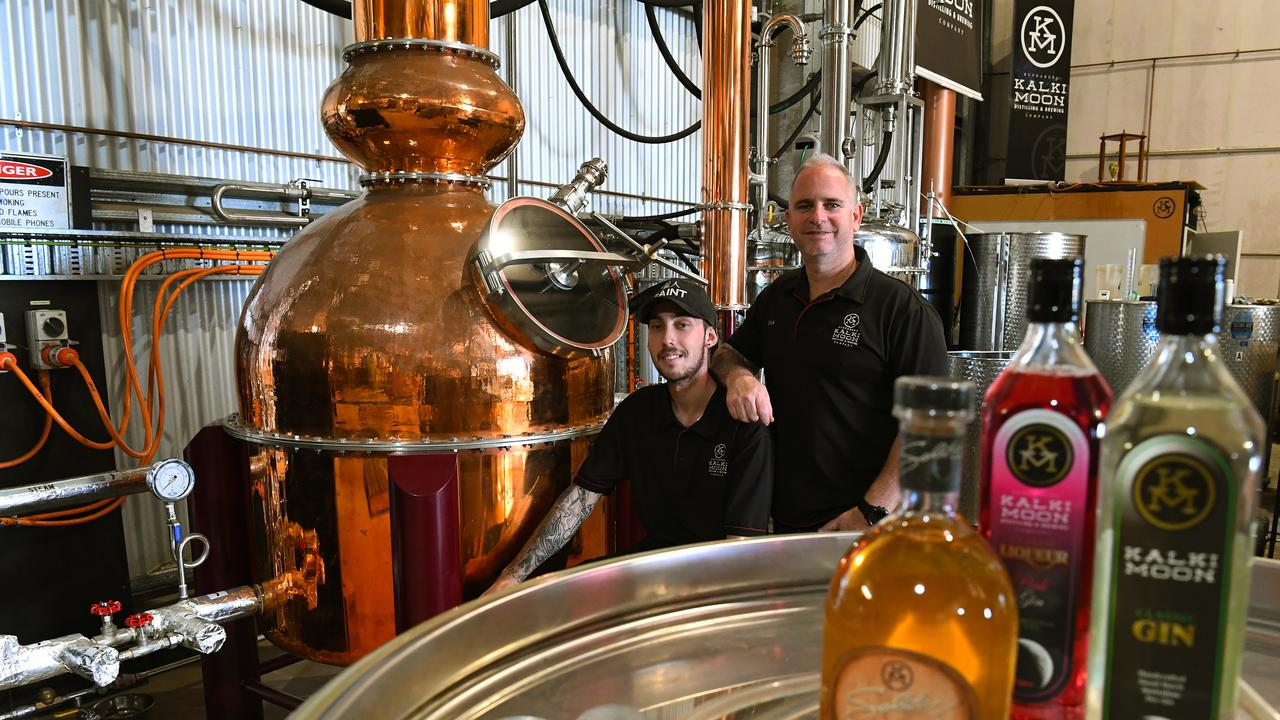KALKI MOON: Jye Prosser and Rick Prosser with the copper pot still named after Rick's grandmother Marie. Picture: Mike Knott