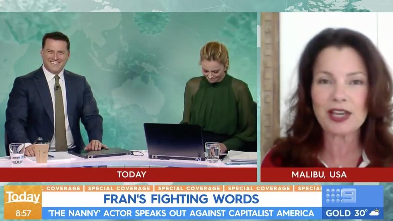 Fran Drescher gave a five-minute monologue on Today last month. Picture: Today/Channel 9