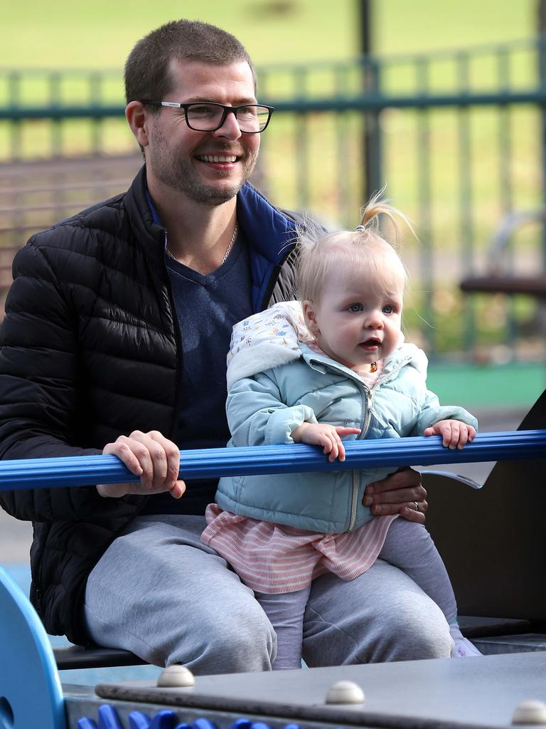 Sydney's playgrounds re-opened today, just in time for Gabrielle's 1st birthday, pictured with father Luc at Rushcutters Bay, Sydney. Picture: Matrix Media