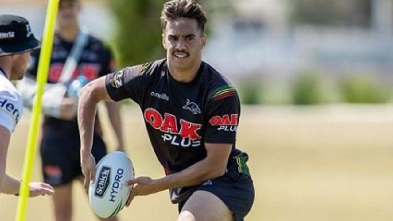 Daine Laurie training with the Penrith Panthers NRL team late in 2019.