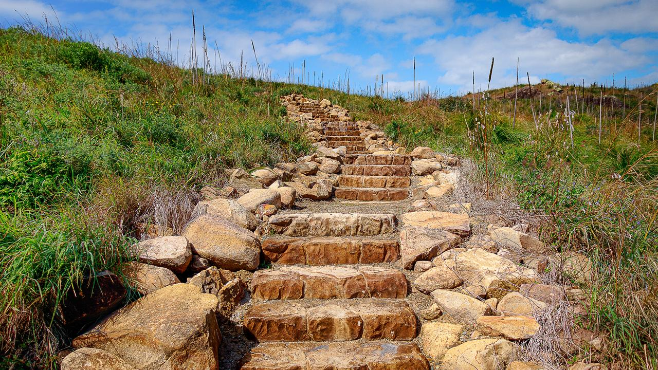 Stairway to Heaven, Border Island, Whitsundays. A beautiful walk to stunning vistas made easy thanks to the excellent, rocky stairway created by National Parks.