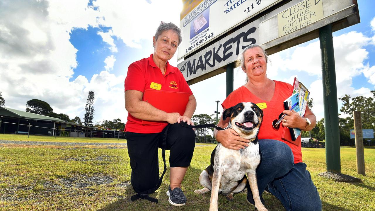 Nikenbah Markets and Hervey Bay Animal Refuge – (L) volunteer Mel Wilkes with managing director Maree Hill and Roxy. Photo: Alistair Brightman