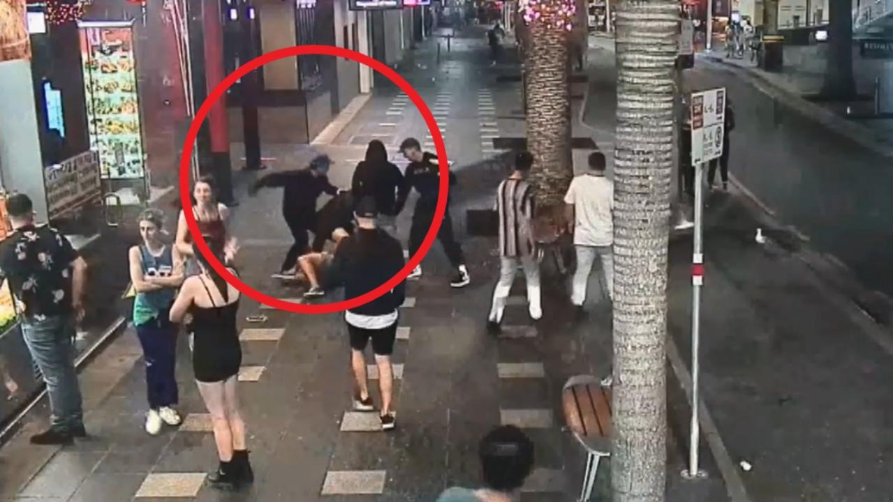 Ivan Susin, 29, can be seen throwing a punch after intervening, before he is knocked out cold. Gold Coast Surfers Paradise fight assault. Lefoe is wearing a black hoodie.