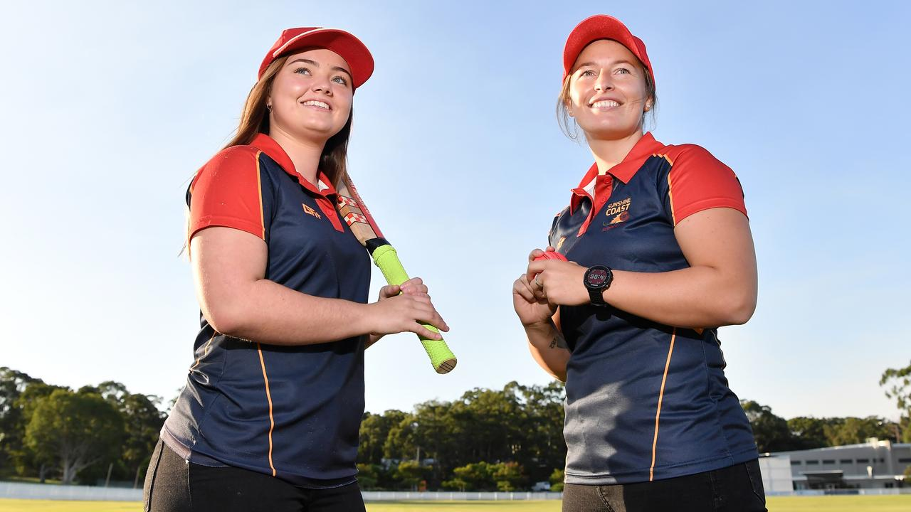 FIRED UP: The Sunshine Coast Scorchers women are ready to compete in the state's premier women's competition. Pictured are captain Charlotte Briggs with key signing Hayley Jensen. Photo: Patrick Woods/Sunshine Coast Daily.