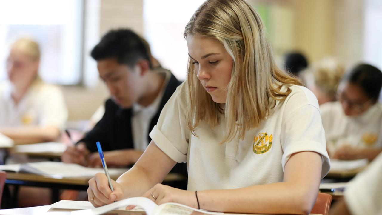 St Marys Senior High School students during the first day of the HSC exams. Picture: Jonathan Ng