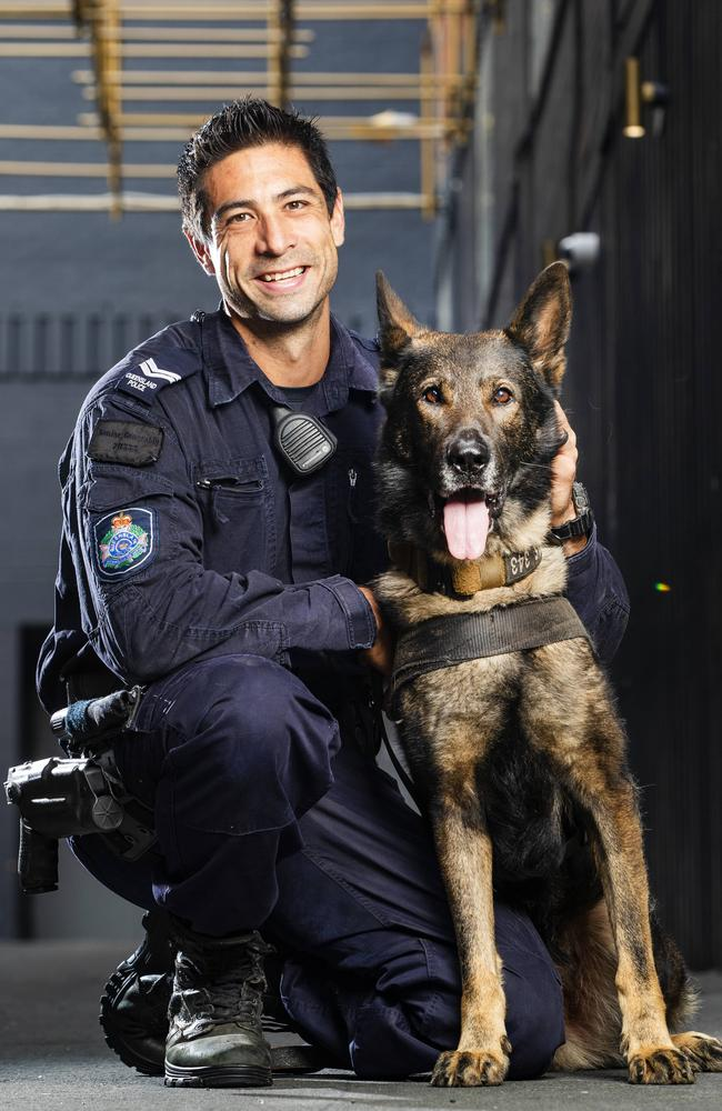 "Senior Constable James ""Jimmy"" Griffiths with Police Dog Kaos. Picture: Lachie Millard"