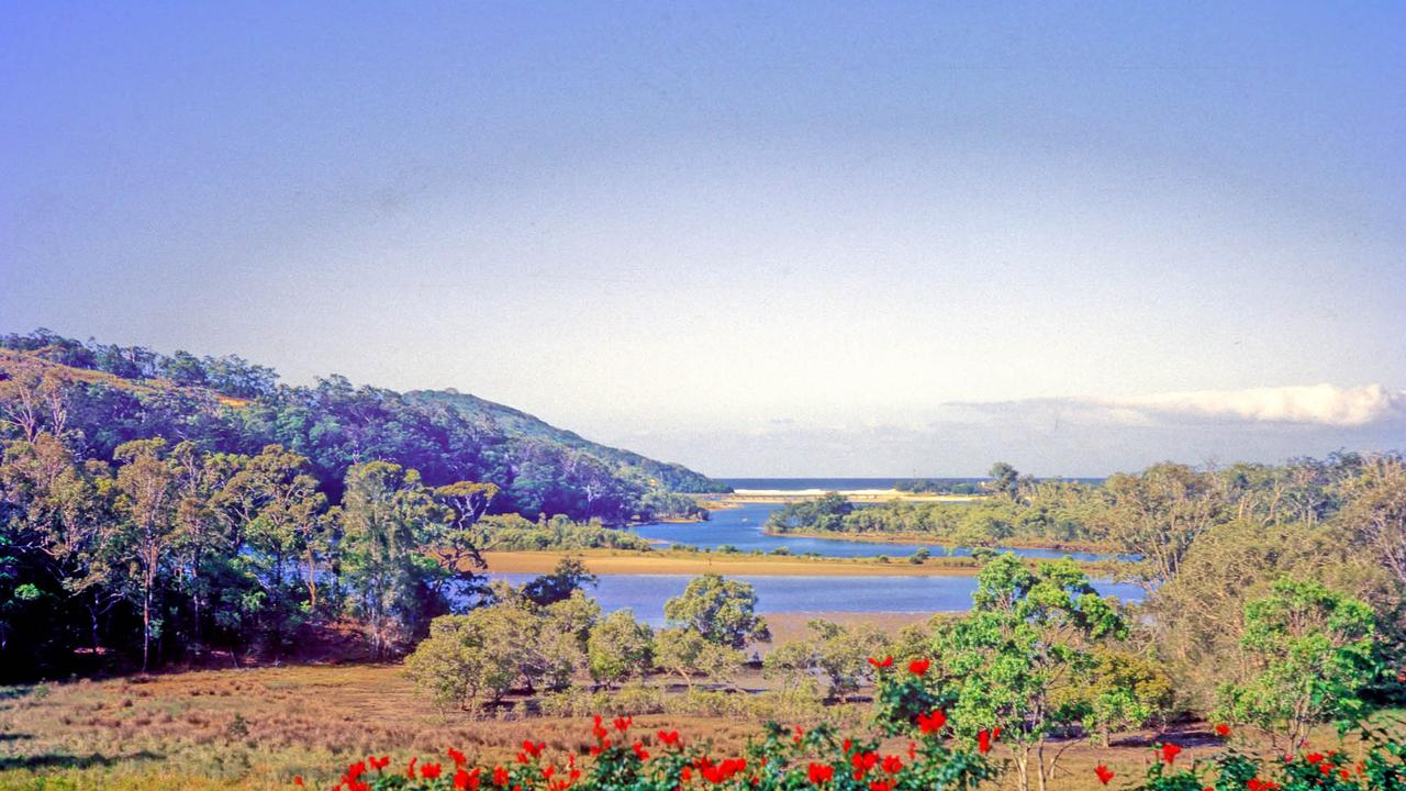Kodachrome view from the Fleay family house, including the reserve and Tallegbudgerra Creek.