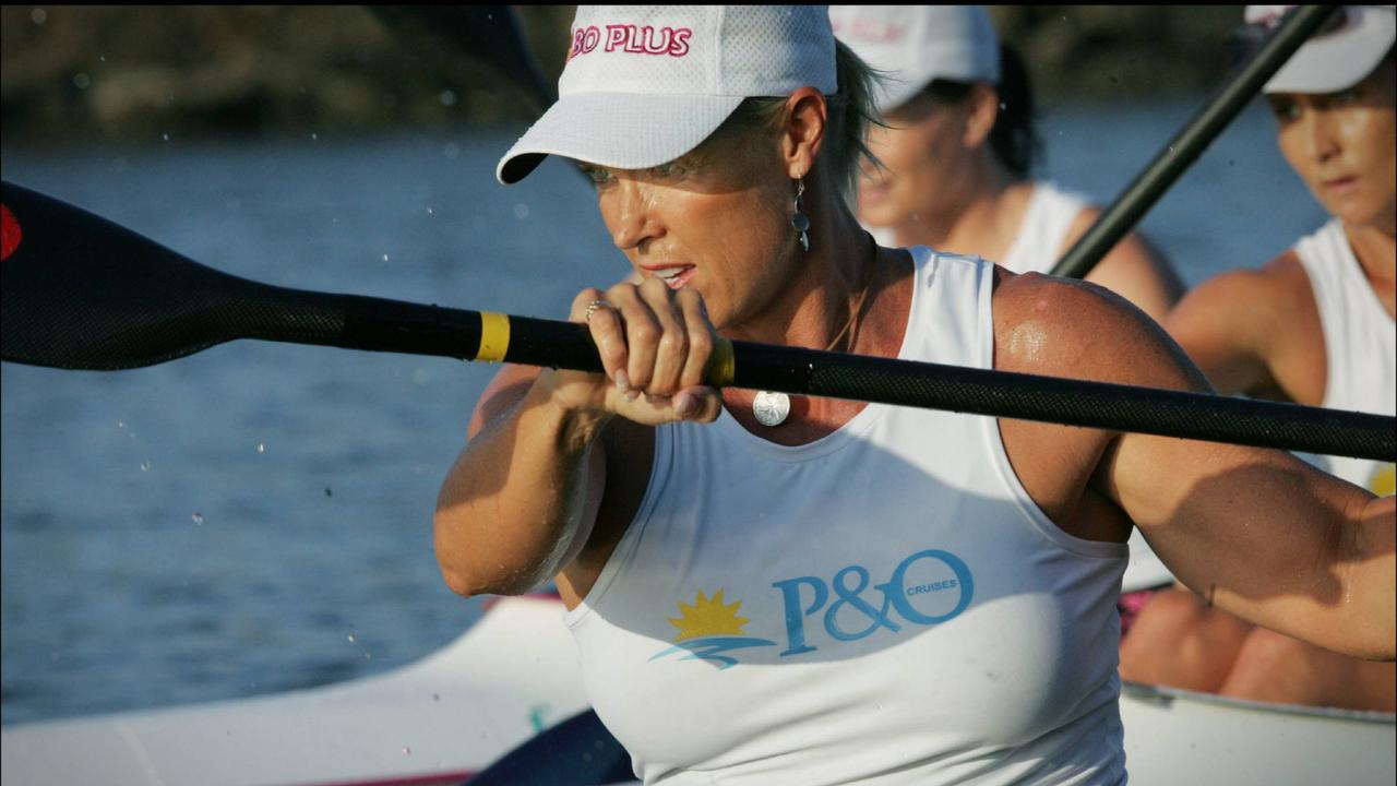 Lisa Curry competed in outrigging and kayaking. Picture: Jamie Hanson