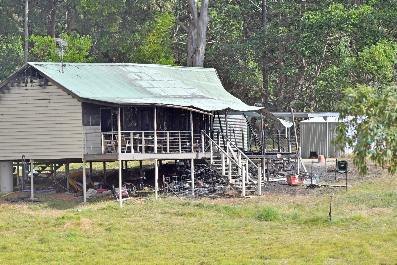 A house fire destroyed a property in Corks Pocket Rd, Reesville on Friday night. Photo: John McCutcheon / Sunshine Coast Daily