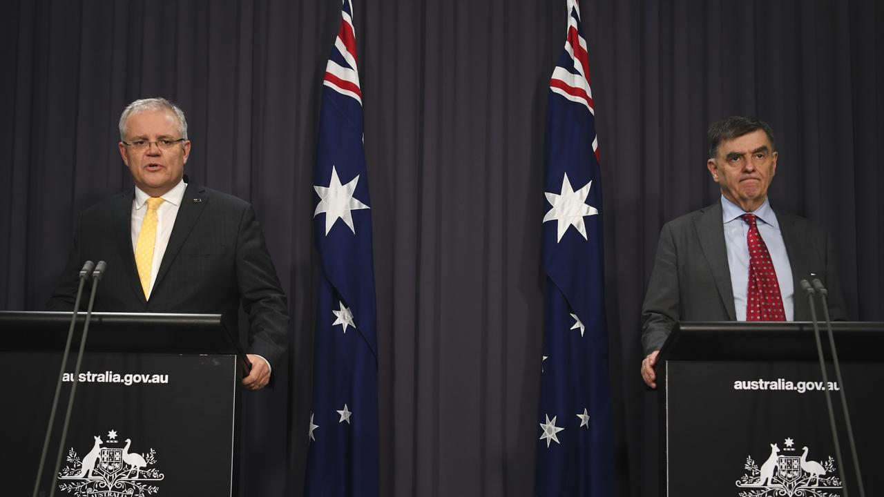 Prime Minister Scott Morrison and Australia's Chief Medical Officer Brendan Murphy> Picture: Lukas Coch (Pool/Getty Images).