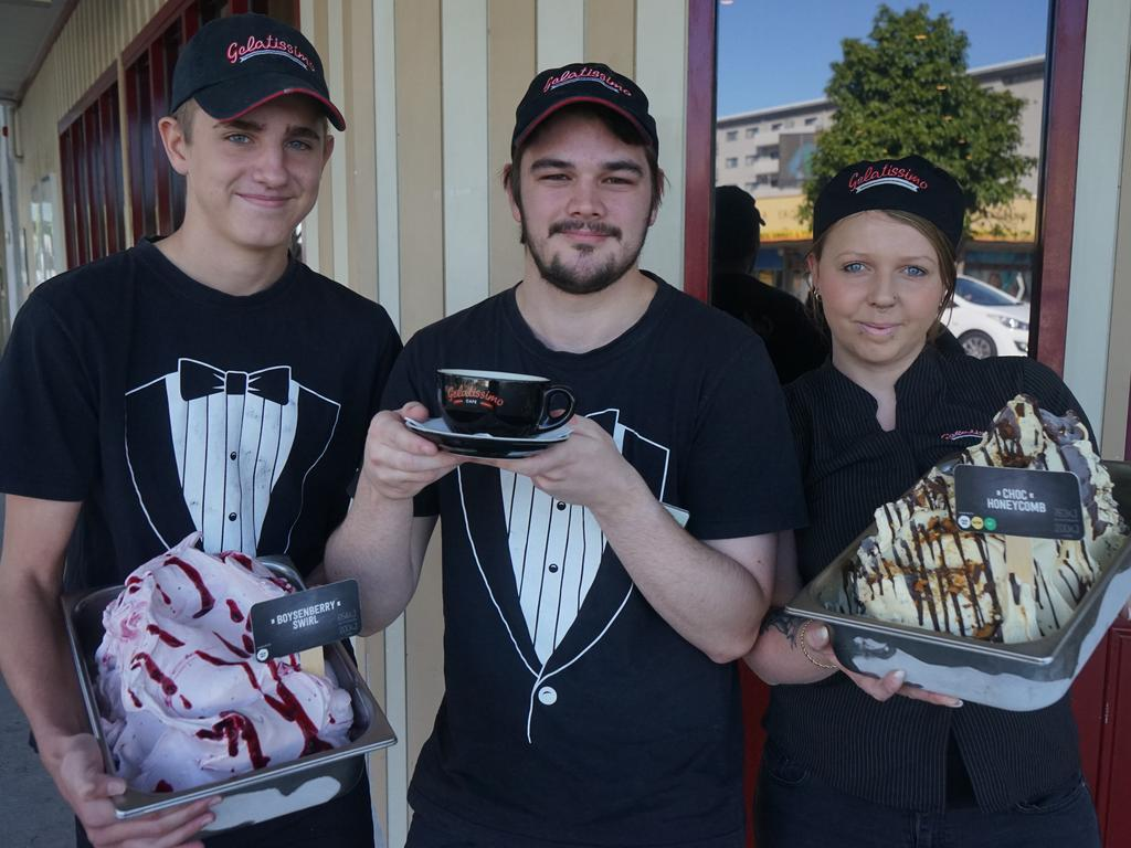 Gelatissimo Mackay employees Codi Smith, Sam Riches and manager Rebekah Smith are excited about the reopening of the gelato bar.