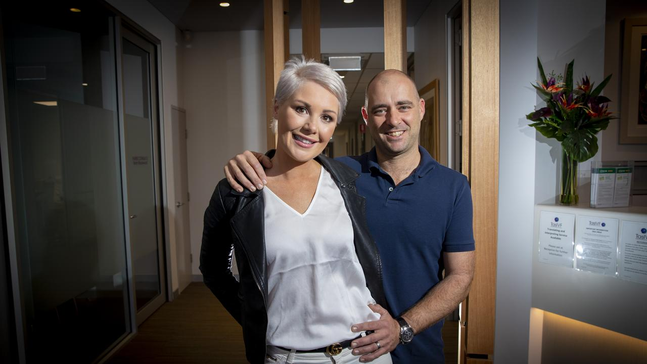 Marina and Mark Allen are very pleased that Hobart IVF clinics have reopened, however it's not the case for all Australian women. Picture: Luke Bowden