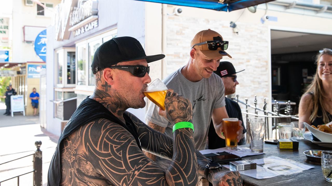 Jake Lockett enjoyed a beer at Wisdoms bar in Darwin. Picture: AAP/Helen Orr
