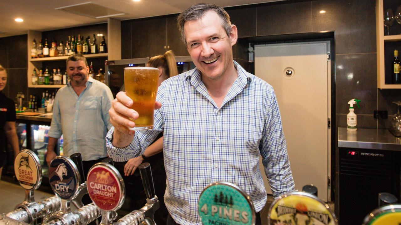 Chief Minister Michael Gunner poured a schooner as pubs reopened across the state. Picture: Glenn Campbell