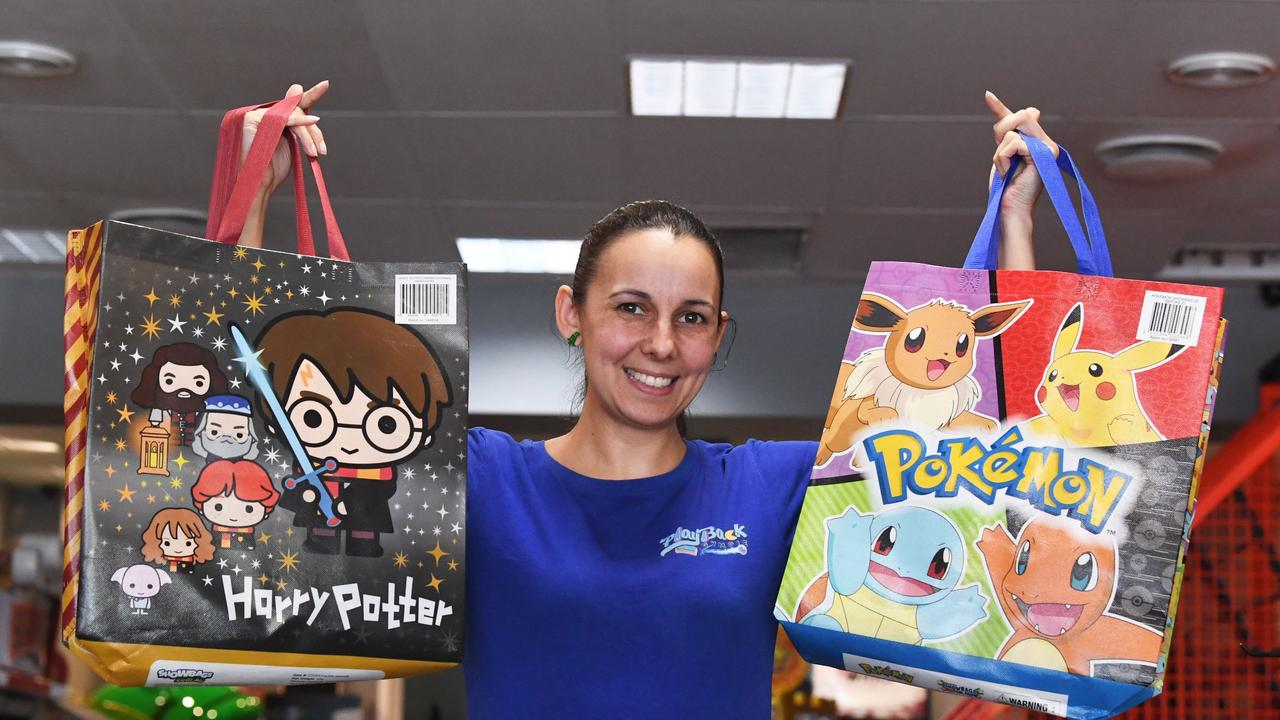Aisha Belling of Play Back Gympie with a range of showbags for No Show Friday.