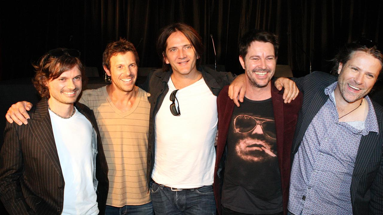 Darren Middleton, Jon Coghill, Ian Haug, Bernard Fanning and John Collins at the Annandale Hotel, Sydney to announce their Sunsets farewell tour. Picture: News Corp Australia.