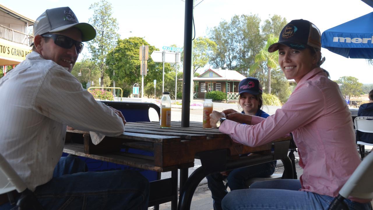 Stuart, Vicki, and Brooke Frame at Cafe Delicious in Monto. Picture: Sam Turner