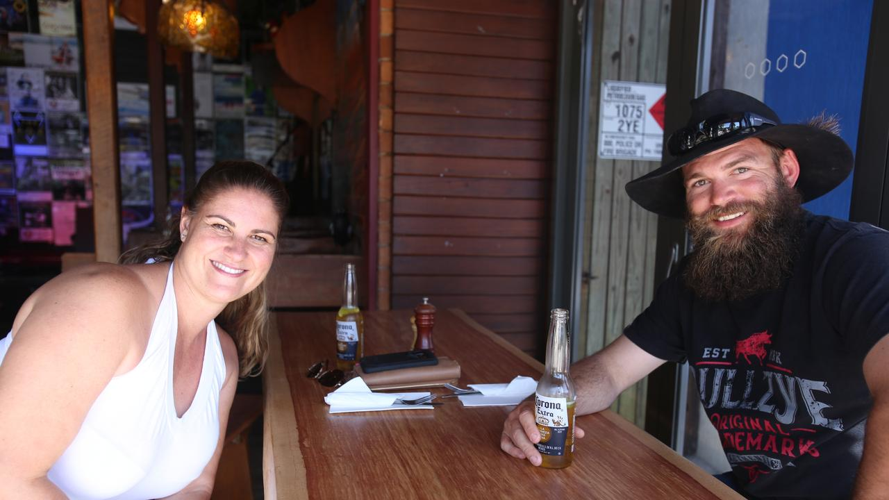 Jacinda Stewart and James Larkin had travelled from Mackay to enjoy a beer and meal at KC's Bar and Grill