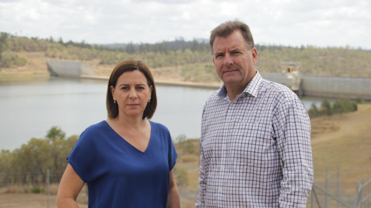 Opposition leader Deb Frecklington and Burnett MP Stephen Bennett visited Paradise Dam last September shortly after the State Government announced it would lower the spillway. Picture: Supplied.