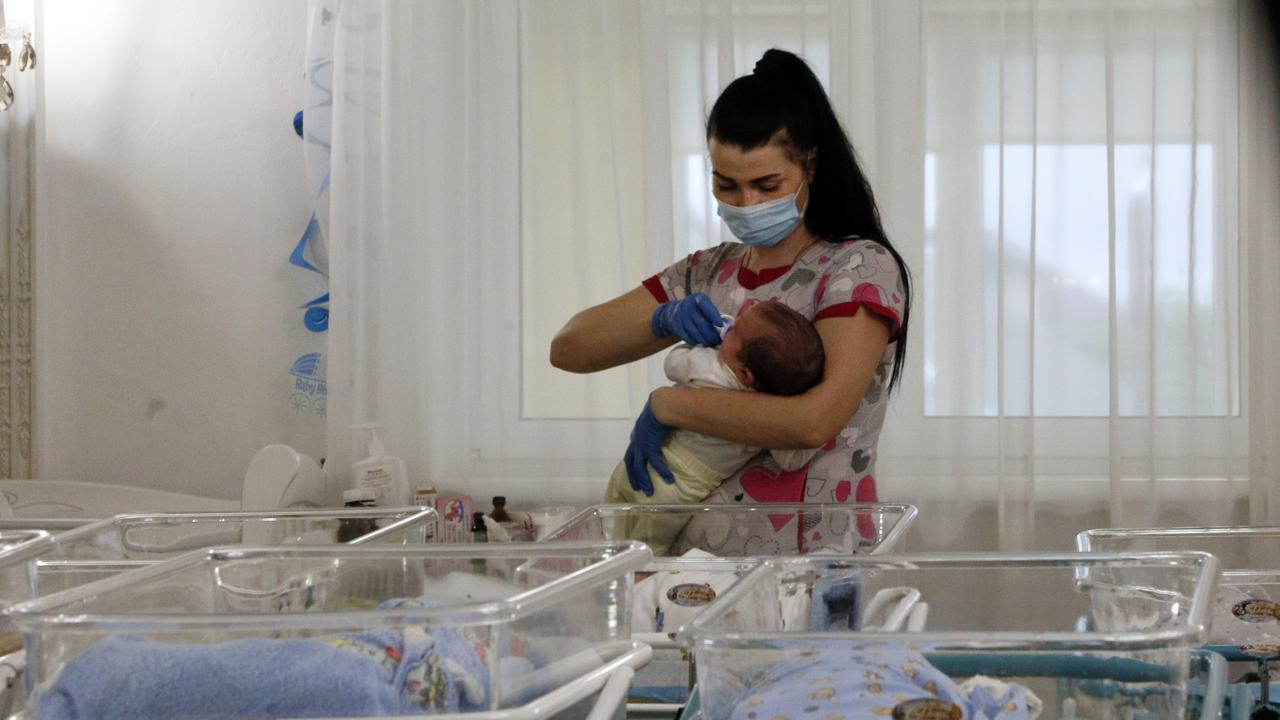 More than 100 babies born to surrogate mothers have been stranded in Ukraine. Picture: AP/Efrem Lukatsky