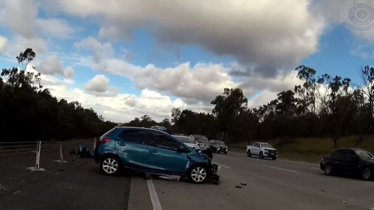 The hatchback was involved in a crash on the M1 at Ormeau.