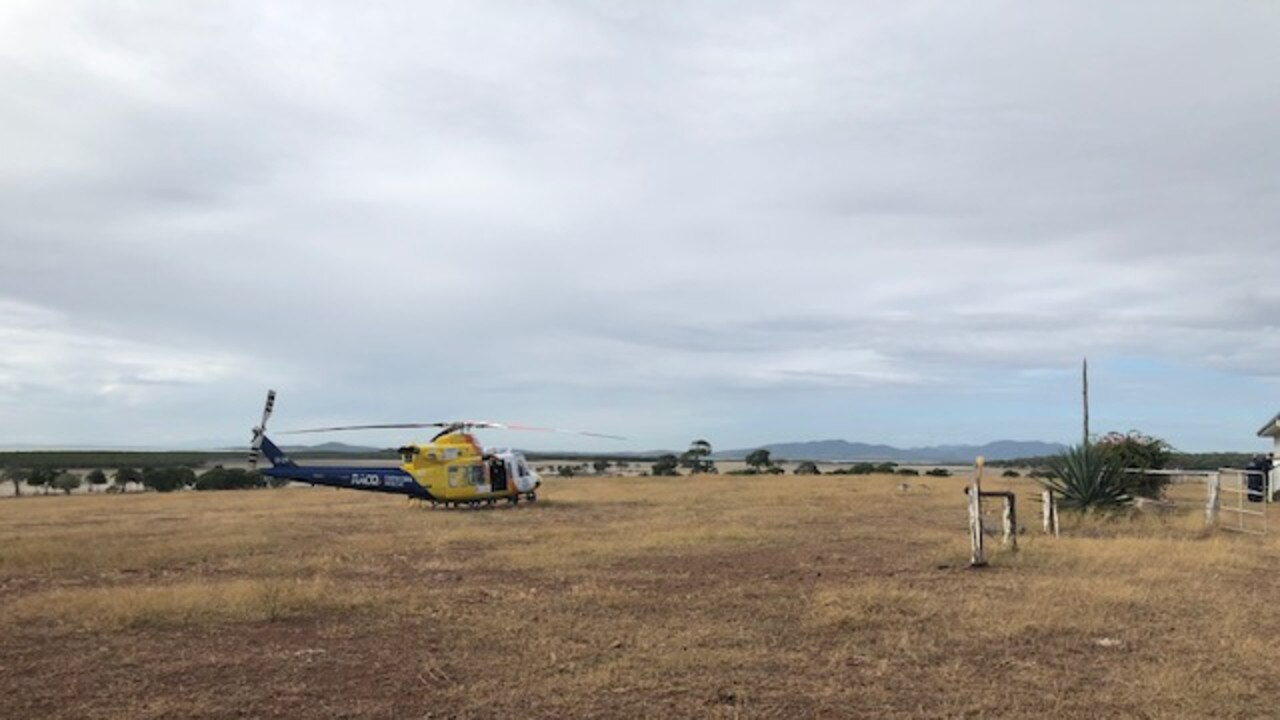 Rescue 300 at a remote island north of Rockhampton for a man who suffered a suspected stroke.
