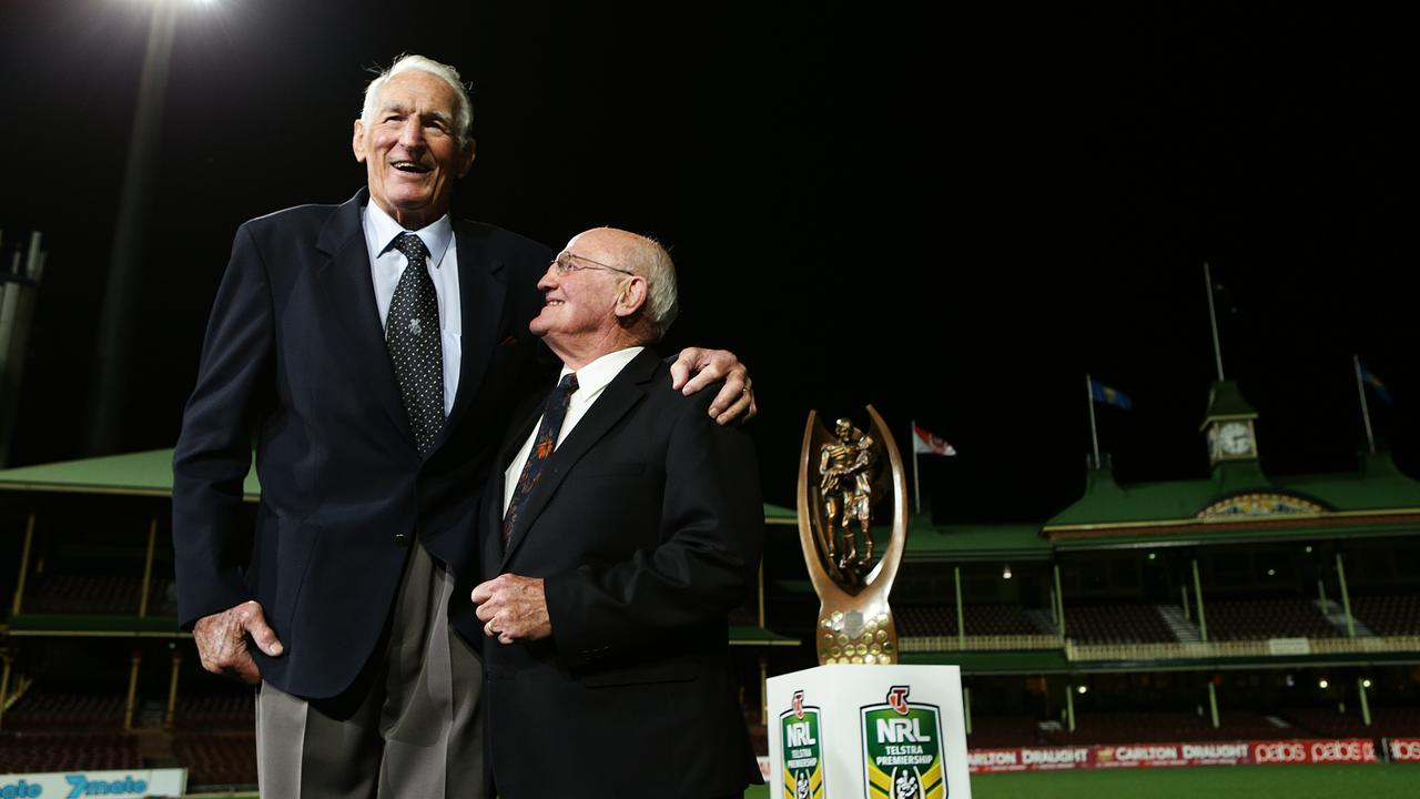 Rugby League legends Norm Provan and Arthur Summons revisit the spot on which the game's iconic Gladiators image was taken 50 years ago.