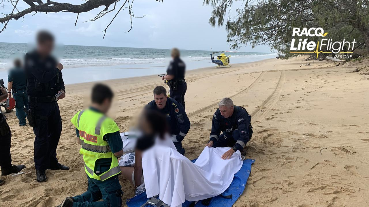 BEACH RESCUE: A woman was airlifted by the RACQ LifeFlight Rescue helicopter, after a 4WD rollover occurred on a beach.