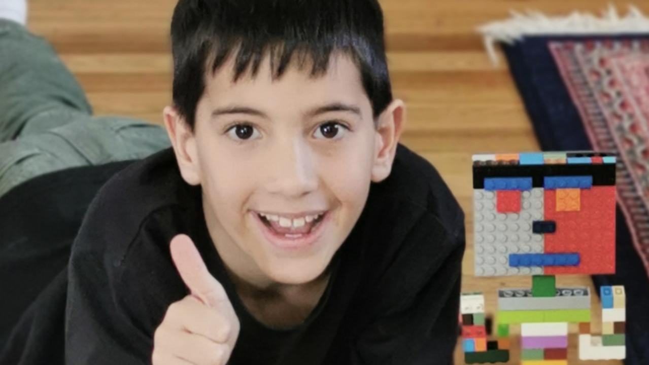 Saint Francis Xavier Catholic Primary School Year 3 student Leon Woods with his Lego competition entry. Picture: Contributed.