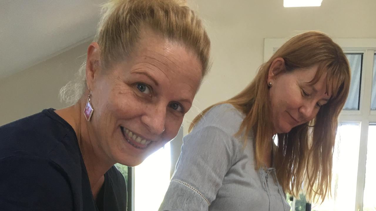 Seaforth State School teachers Lara Wright and Lauren Noli enjoying some home made scones. Picture: Contributed