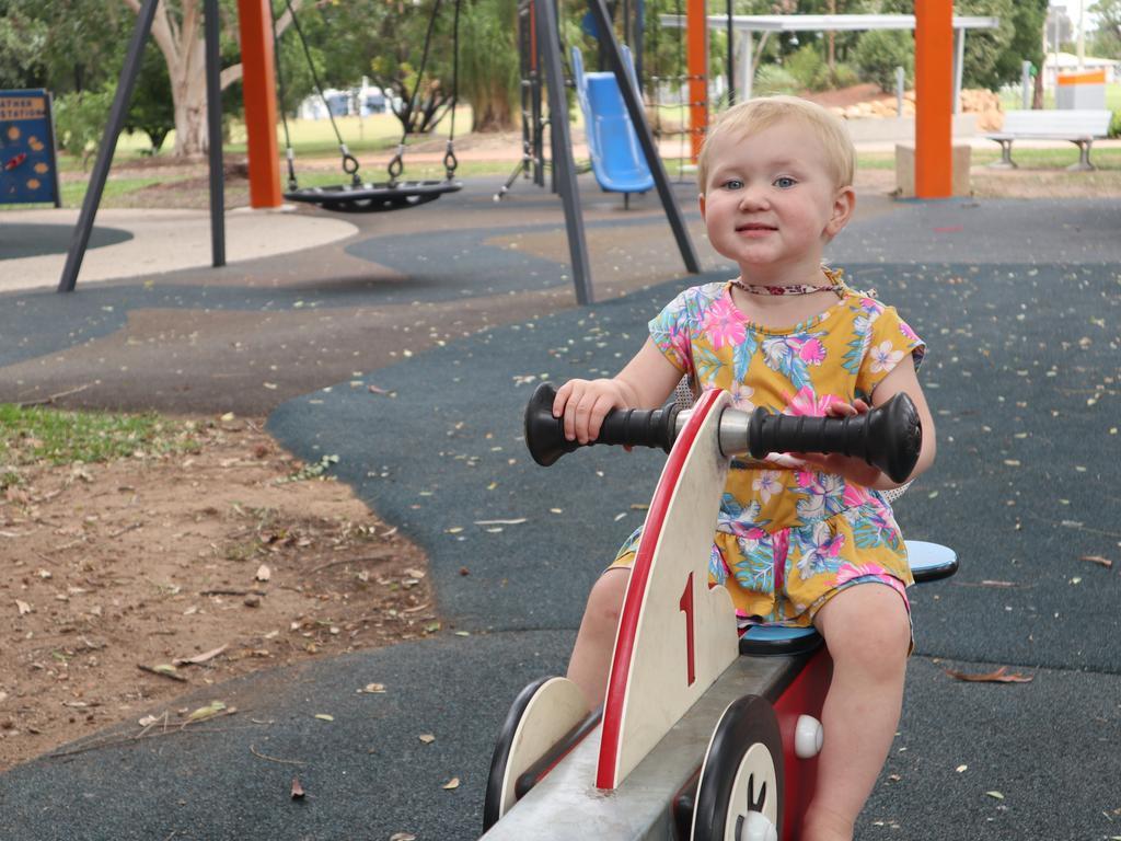 Elsie-Mae Firth at the Emerald Botanic Gardens playground.