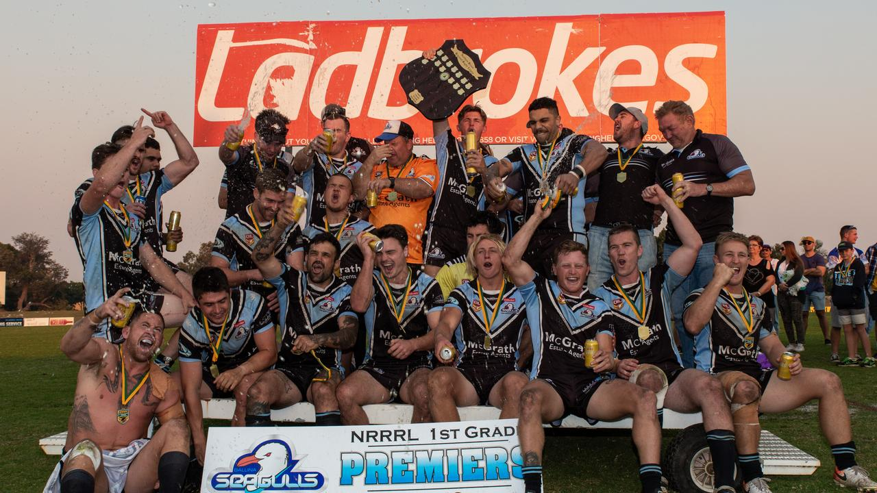 The Ballina Seagulls celebrate after defeating Murwillumbah in the 2019 Northern Rivers Regional Rugby League grand final at Kingsford Smith Park, Ballina.