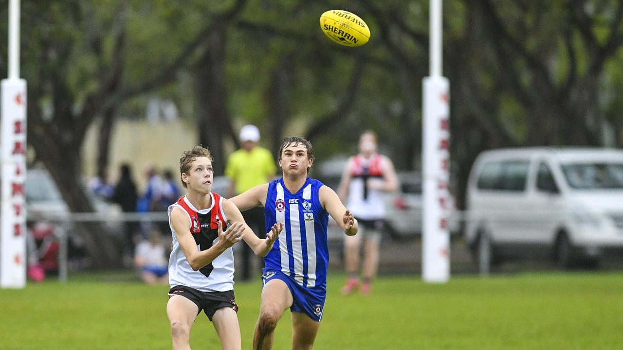 2019 AFL Capricornia senior premiership, Boyne Island Tannum Sands Saints vs Brothers, 4 May 2019. PICTURED: BITS' Adam Hull and Brothers' Jack Uebergang. PICTURE: Matt Taylor