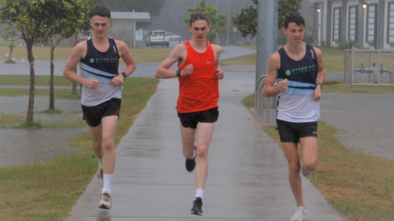 Byron Bay Runners Finn Crethar, Elliott McGaughran and Bailey Crabtree.