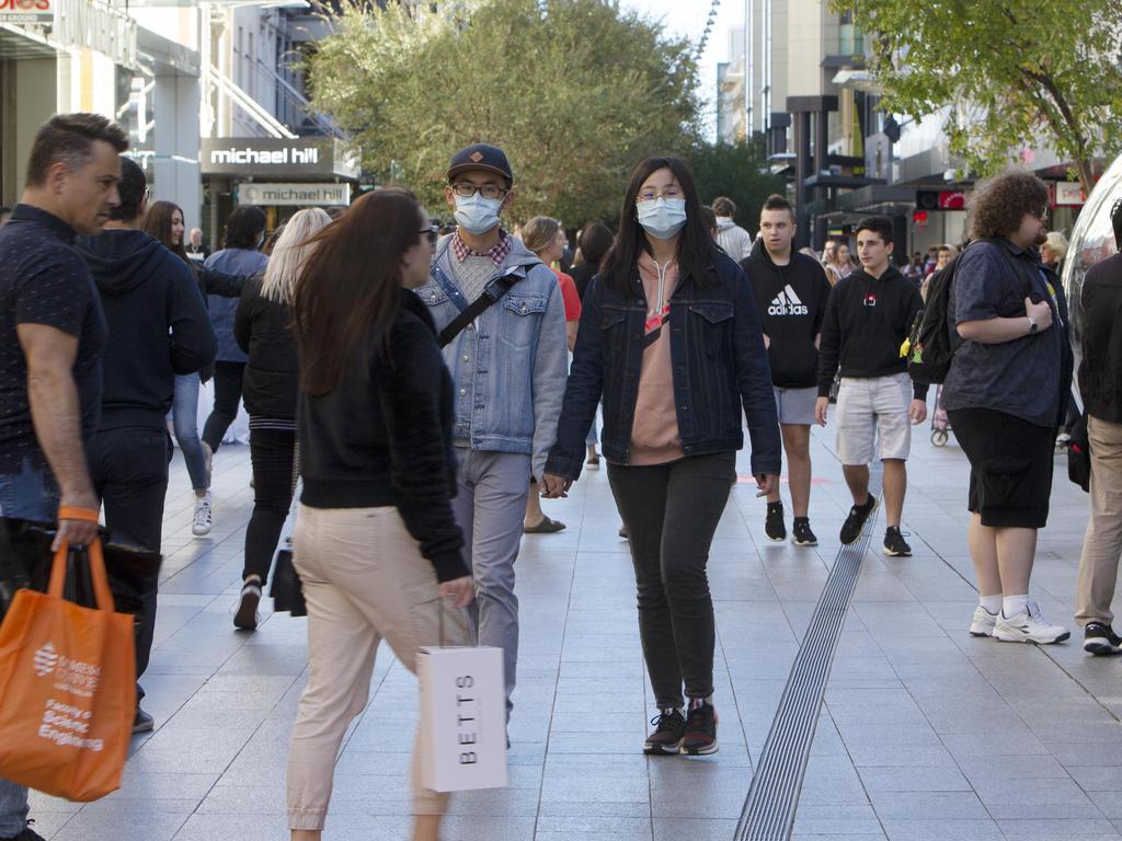 Saturday afternoon in Adelaide post coronavirus lockdown. Picture: Emma Brasier