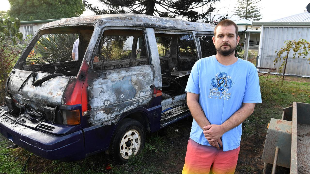 Beau Cannary at the scene of a vehicle fire in Tarakan Street. Picture: Mike Knott