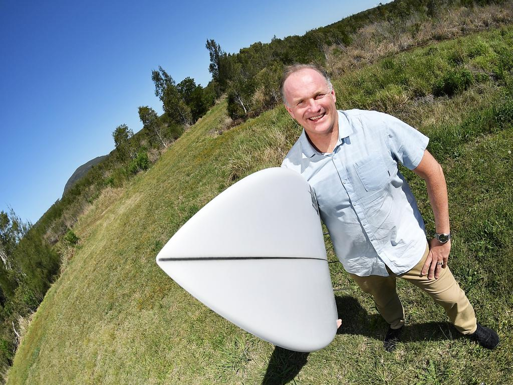 CHOPPY SEAS: World Surf League Australian general manager Andrew Stark has pushed the wave pool component of an intensive residential and mixed-use development on flood-prone land west of Coolum. Photo Patrick Woods / Sunshine Coast Daily.