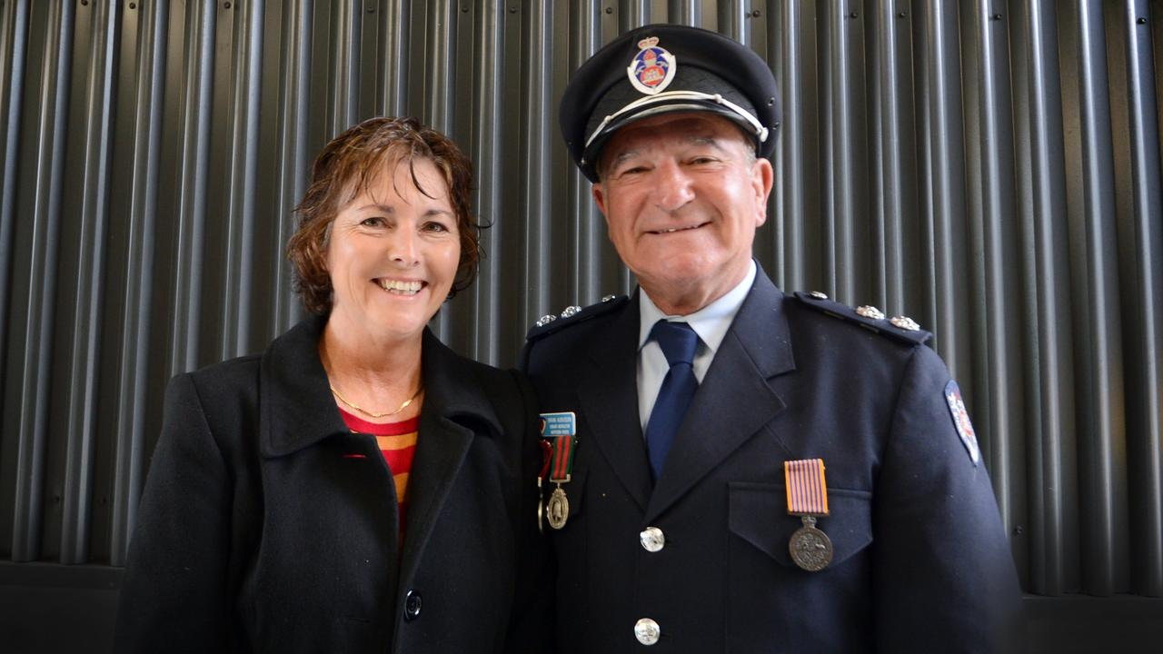 SADLY MISSED: Station Commander Senior Instructor Brian Aubusson passed away on Thursday May 14, 2020. Photo shows Mr Aubusson with partner Kelly Haines at a presentation ceremony in Ballina. Photo Cath Adams