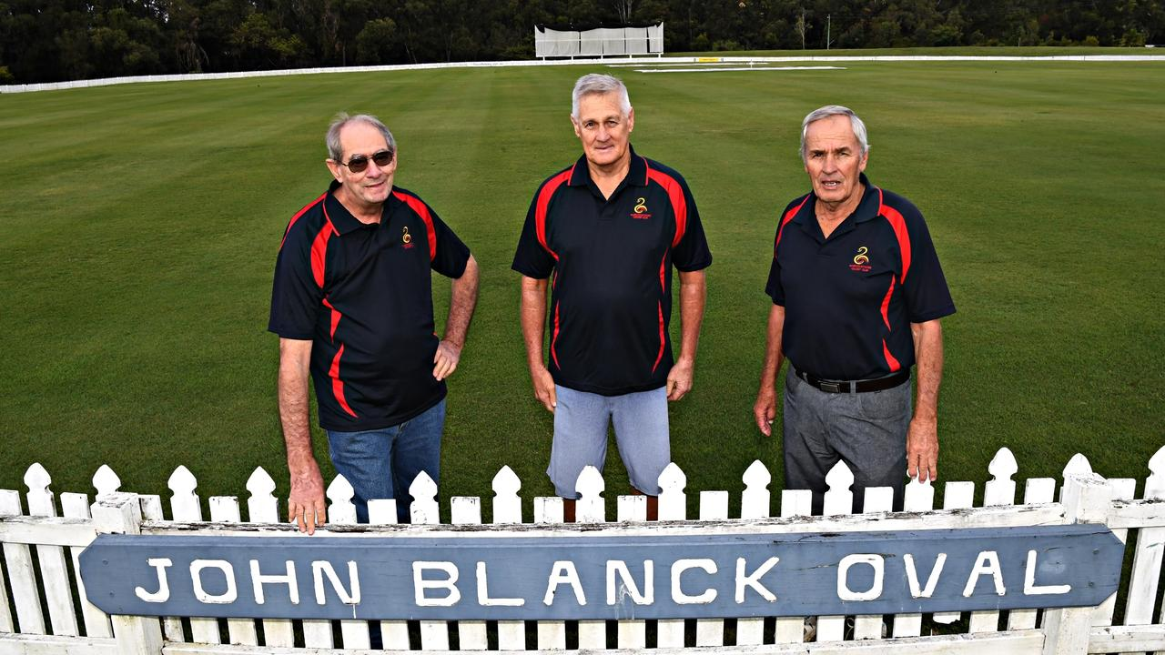 PAST PRESIDENTS: Ron McMullin, Kev Hackney and Kerry Emery on the John Blanck Oval at Maroochydore Cricket Club, to honour the contribution John Blanck made to the game. Picture: Warren Lynam.