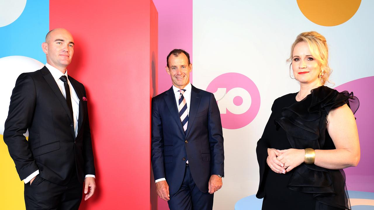 31/10/2018: Channel Ten's Sales Executive Rod Prosser, left, Chief Executive Paul Anderson and Programmer Beverley McGarvey at Ten's launch in Sydney. Pic by James Croucher