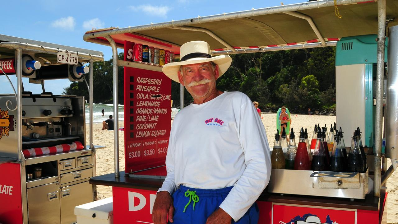 Bill Watson of 'Hey Bill' fame marked 50 years on Main Beach Noosa in January but the celebrations for 2020 were short-lived.