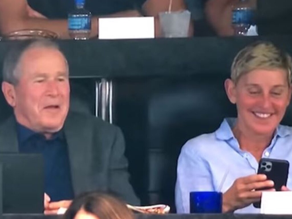 George Bush and Ellen DeGeneres at a Cowboys game.