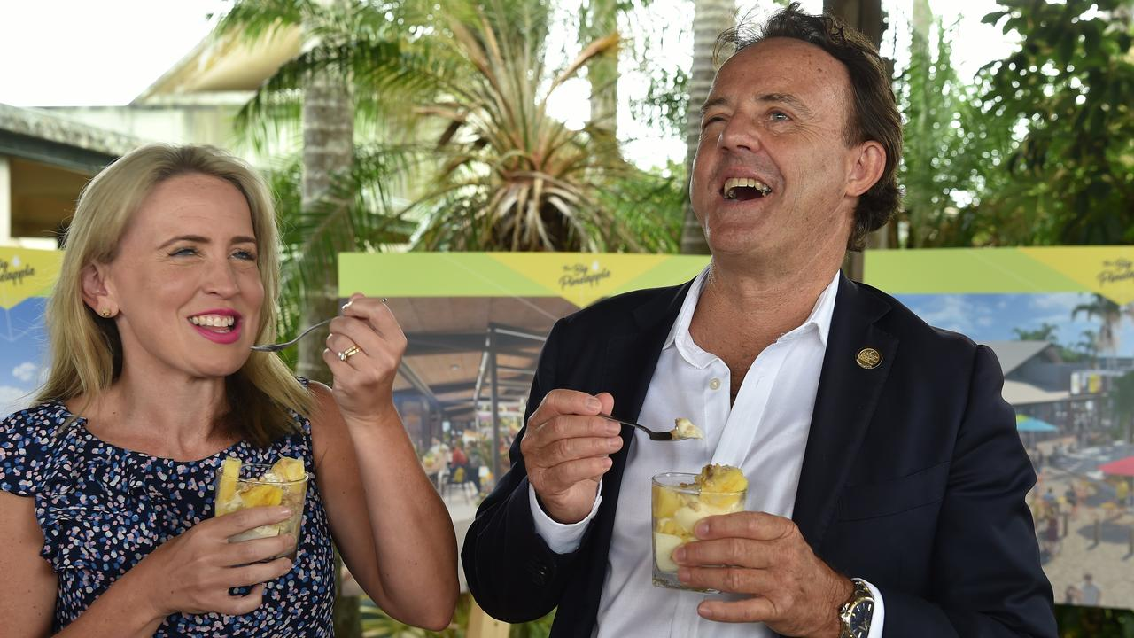 Tourism Industry Minister Kate Jones and Simon Latchford enjoy a parfait last year.