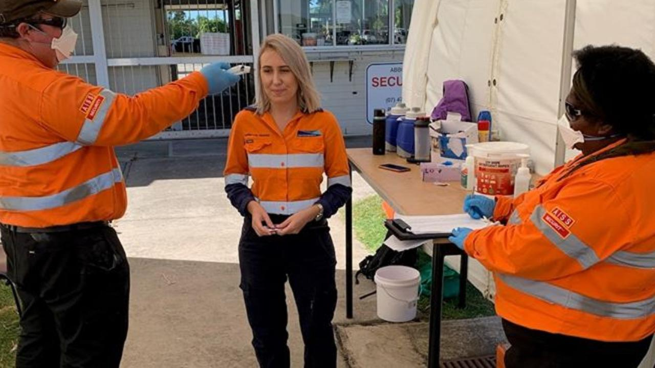 Adani workers having their temperature tested. Picture: Adani Australia