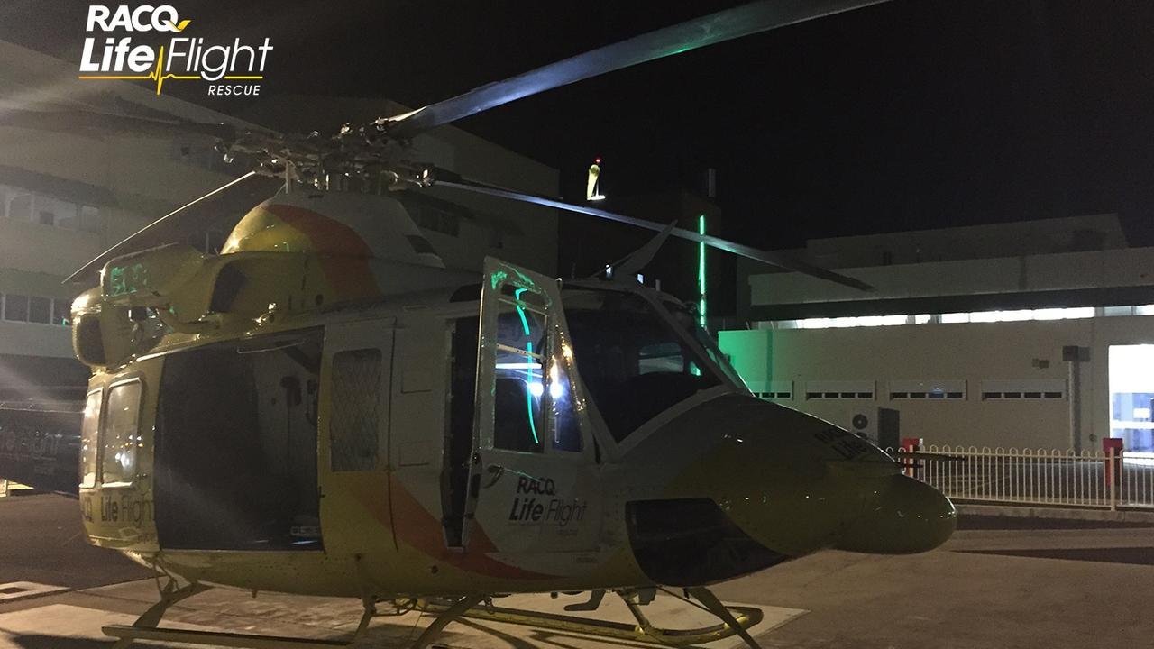 COFFEE CRASH: The Bundaberg RACQ LifeFlight Rescue chopper transferring the patient to Bundaberg Hospital from the North Burnett. Picture: File