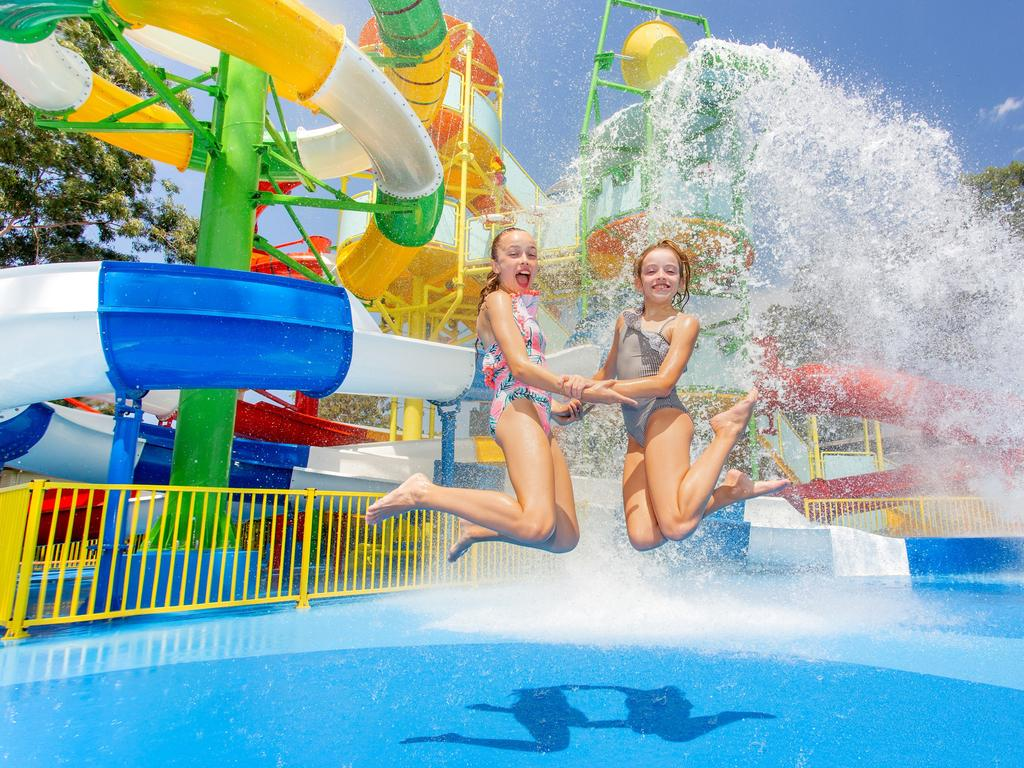 The slides that will be installed as part of the new $65 million Actventure water park and eco-resort at Glenview on the Sunshine Coast. Picture: Supplied